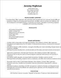 Supervisor Resume Sample Free Bank Teller Supervisor Resume Keni Com Resume Template Downloadable