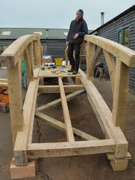 the strength of oak means there is flexibility in the design of the bridge and therefore its appearance if a less strong timber were used the sections