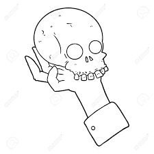 cartoon hand holding skull vector ilration stock vector 95641629