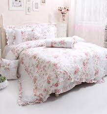 wolala home king size 4 piece sets rose flower printing bedding sets white lace ruffled duvet