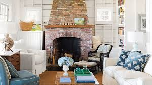 Living room interior design with fireplace High Ceiling Cape Cod Cottage Living Room Coastal Living 48 Beautiful Beachy Living Rooms Coastal Living
