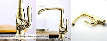 Antique Brass Kitchen Faucet With Sprayer Pull Out Spray Vintage