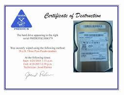 Certificate Of Destruction Template Word Fresh Certificate Data
