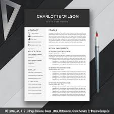 teacher resume professional resume template cv template cover letter ms word for mac pc simple modern creative resume instant charlotte