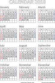 Us 2018 Calendar Pdf Free Printable Pdf