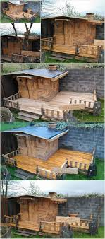 Wood Pallet House Diy Wood Pallet Patio Cabin Deck Project Pallet Wood Projects