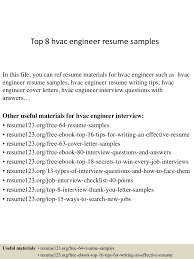Hvac Design Engineer Interview Questions And Answers Pdf Top 8 Hvac Engineer Resume Samples