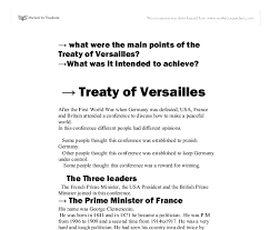 what were the main points of the treaty of versailles what was it document image preview