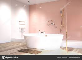 pink bathroom with white tiles side stock photo