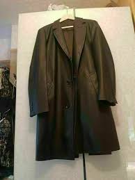 mens hugo boss leather coat 3 4 110cm or 43 inches length black ecellent condition size l