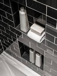 built in shower storage shelves