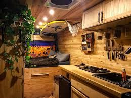 kitchen layout in a diy camper van build