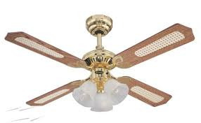 ceiling fan 4 blades. westinghouse ceiling fan 105cm / 42 inch 4 blade in polished brass princess trio with oak cane mahogany and three lights blades o