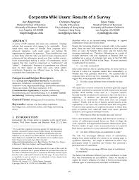 Wikis Business Pdf Corporate Wiki Users Results Of A Survey