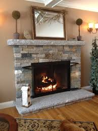 Amazing Stone Fireplace Surround On Stacked Stones Fireplace Surrounds Be  Equipped With Large Mirror of