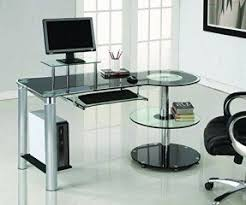glass home office furniture. black glass u0026 chrome modern desk with circular shelves home office furniture s