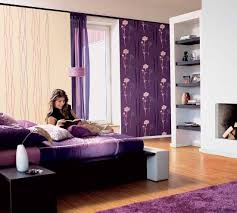 bedroom wall decorating ideas for teenage girls. purple wall decor, upholsters and rug for teenage girl bedroom. bedroom ideas decorating girls