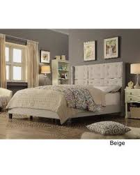 tufted upholstered bed. Moser Bay Furniture Chica Tufted Upholstered Bed (Queen, Beige)