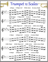 Brass Transposition Chart Amazon Com Lead Trumpet 12 Scales Chart Musical Instruments