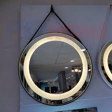 Gương đèn led dây da đen - MODEL 20010 PGHOME - Nhà Tắm - Nhà Bếp- Gạch ốp  lát - Đèn trang trí