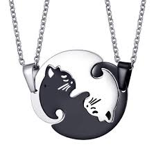 details about 1pcs for couple friendship stainless steel matching charm cat pendant necklace