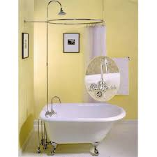 gooseneck faucet and shower enclosure with circular shower ring