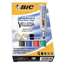BiC Marqueur pour tableau blanc VELLEDA®, pointe biseautée de 3,4 ...