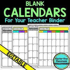 Teacher Binder Templates Monthly Calendars For Your Teacher Binder Organization Template