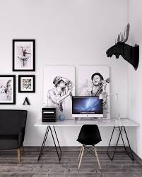 minimalist cool home office. Cool Office Furniture Ideas With Scandinavian Style Home Designs Also White Paint Walls And Black Antler Ornament Minimalist Desk Task Chair E