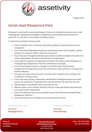 policy templates asset management templates assetivity