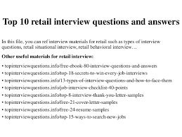 Retail Interview Questions