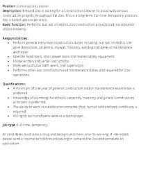 General Laborer Job Description Construction Helper Resume General ...