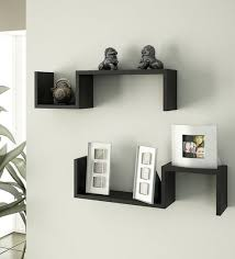 s shaped wall shelves set of 2 by home sparkle contemporary home decor pepperfry