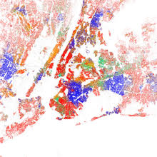 map of racial distribution in new york 2010 u s census each dot is 25 people white black asian hispanic or other yellow