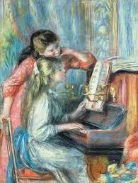 pierre auguste renoir painting young girls at the piano by pierre auguste renoir