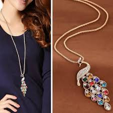details about fashion colorful crystal peacock long pendants necklace chain charm jewelry