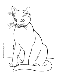 Elegant cat with large tail. Coloring Pages Of Cats
