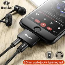 benks for iphone 7 8 plus 2 in 1 audio charging adapter ios 11 3 5mm headphone jack aux charger connector converter for iphone x