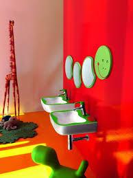 Kids Bathroom Flooring Design White Oval Acrylic Bathtub Using Metal Leg Dark Solid