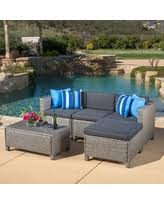 outdoor puerta 5 piece wicker l shaped sectional sofa set with cushions by christopher knight home grey wicker with mixed black cushions size 5 piece sets patio furniture fabric