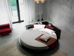 Unique Bedroom Design with Black Leatherette Round Platform Bed