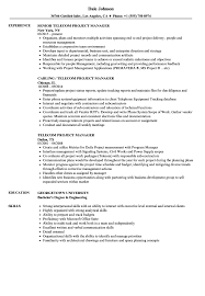 Telecom Project Manager Resume Sample Telecommunication Example