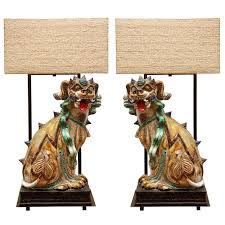 foo dog lamps pair of monumental ceramic with custom shades this striking green foo dog lamps