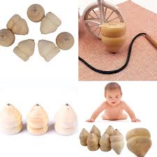 Wooden Spinning Top Game Natural Color Toy Kids Wood Spinning Top Spinner Gyro Wooden 70
