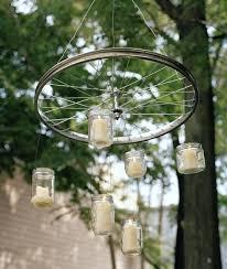bicycle wheel chandelier candle diy outdoor