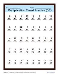 multiplication fact sheet timed multiplication worksheets 0 2 printable practice sheets