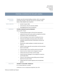 Staffing Coordinator Resume Template And Job Description