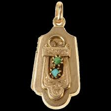 14k victorian ornate turquoise etched