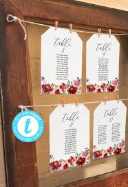 Table Seating Chart Online Marsala And Pink Rose Watercolor Wedding Seating Chart Single Table Templates 5x7 6x4 Customise Online Edit With Templett