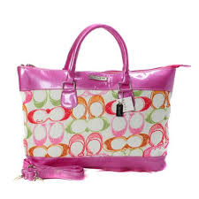 Coach Logo In Monogram Small Pink Totes BYH